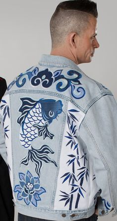embellished denim for guys too. koi and motifs inspired by Chinese porcelain. #diypantsdenim