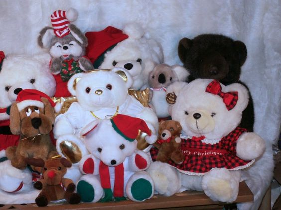 I have a LOT of NOS bears for Christmas 90's-95. Which are you interested in I ll send indv pics and prices.  never played with have no kids so new except i displayed a col yrs under tree.  i will be listing them on etsy with imdv pics. interested or questions mail me