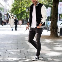 Varsity jacket jeans and #sneakers by @magic_fox  [ http://ift.tt/1f8LY65 ]