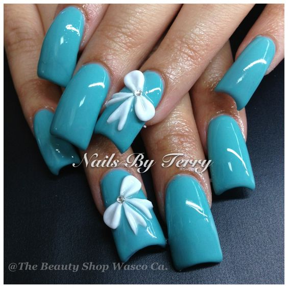 3D white bow, gel Polish by Terry
