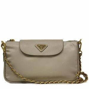 prada purse cost - Prada Gray Tessuto Saffiano Leather Chain Handle Shoulder Bag ...