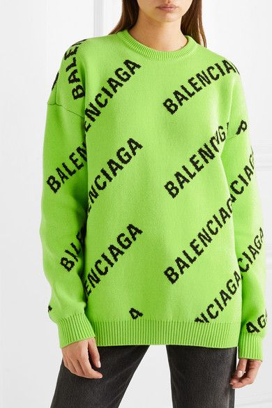 Oversized intarsia cotton-blend sweater