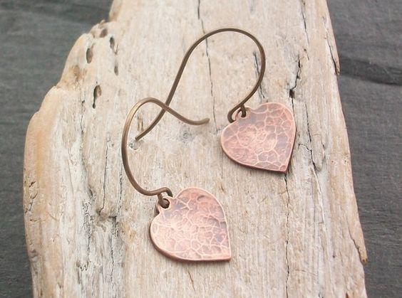 Copper Heart Earrings £9.00