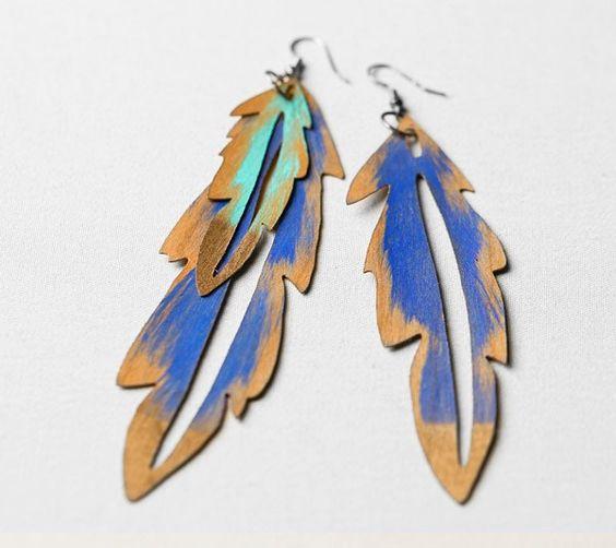 DIY wood veneer feather earrings by Creativebug. Make It Now with