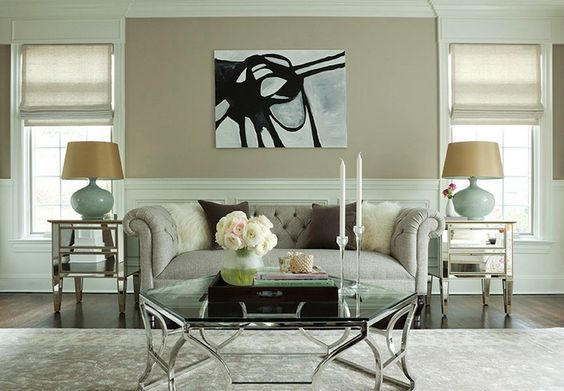 Chic tan seafoam green living room design with tan beige for Seafoam green room decor