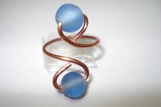 Blue glass bead Toe ring by helenshmcreations on Etsy, £3.90