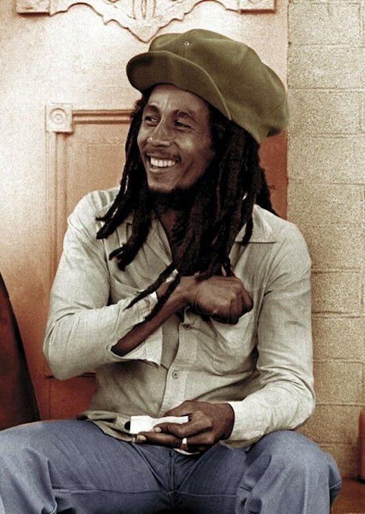 Bob Marley Poster Rolling A Joint Smiling 24 Inches By 36 Inches