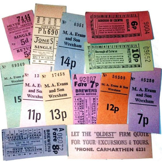 Bus Tickets by Welsh operators British vintage by SalvationStn, £3.85
