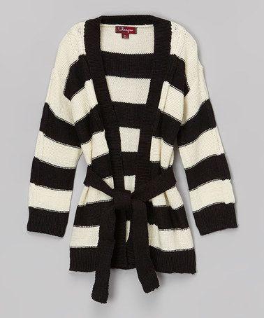 Another great find on #zulily! Black Ink & Vanilla Stick Stripe Sweater - Toddler & Girls #zulilyfinds