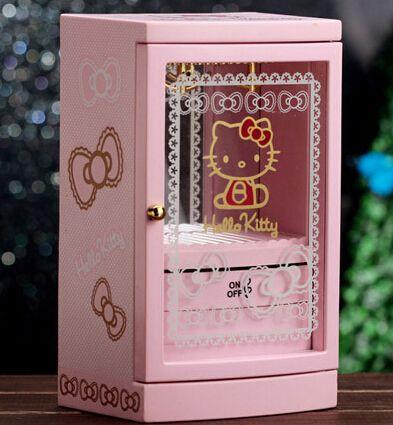 Pas cher Kawaii bonjour Kitty bande dessinée musique cosmétiques miroir bijou boîte de rangement meilleur cadeau d'anniversaire, Acheter  Boîtes à musique de qualité directement des fournisseurs de Chine:             Note: pas de bijoux accessoires viennent avec