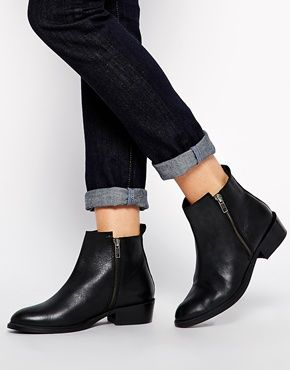 Dune Pippie Black Pointed Flat Ankle Boots | Shoes | Pinterest