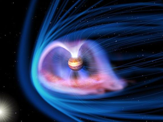 Artist's impression of the aurora on Jupiter, and its magnetosphere.