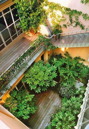 Patio : patio aménagé par Pierre-Alexandre Risser - Balcon et terrasse : 10 idées d'aménagement paysager: