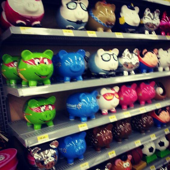 Piggy banks walmart shopping adventures pinterest for Secret piggy bank