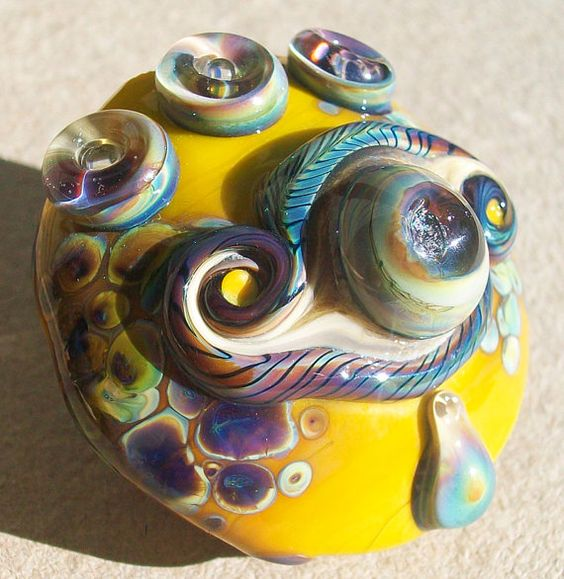 Shimmering Crying EyeYellow Lime Blush handmade lampwork by Genea