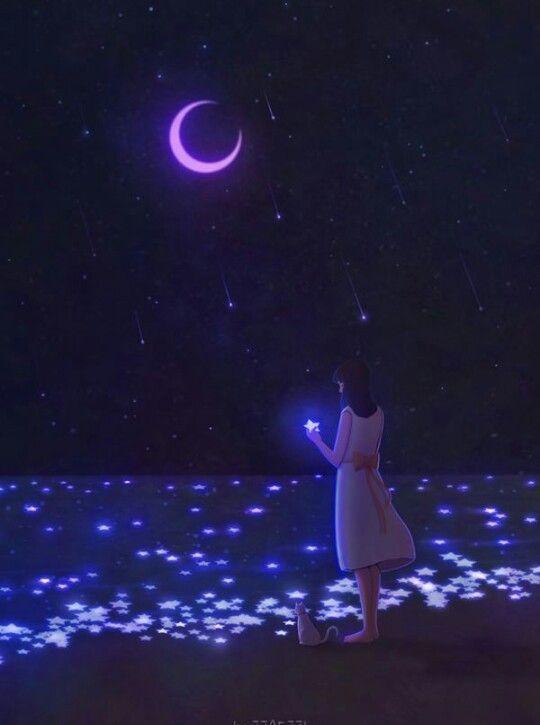 Wishing Dreamy Art Anime Scenery Moon Art