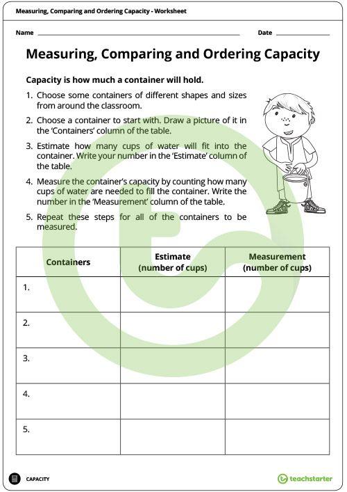 Measuring Comparing And Ordering Capacity Worksheet Teaching Resource Teach Starter Volume Worksheets Liquid Volume Parts Of Speech Worksheets Liquid volume worksheets