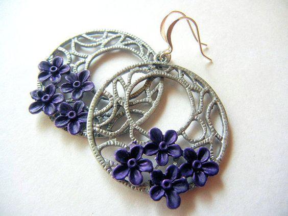 Silver and Purple Earrings Hoop Hand Painted Flower by PoshPatina, $14.00