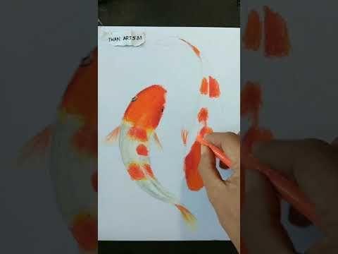 Cara menggambar ikan koi dengan oil pastel - timelapse - YouTube | Gambar