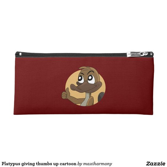 Platypus giving thumbs up cartoon pencil case
