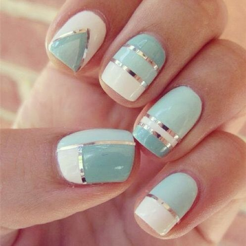 #nails #mani #seafoam #stripes: