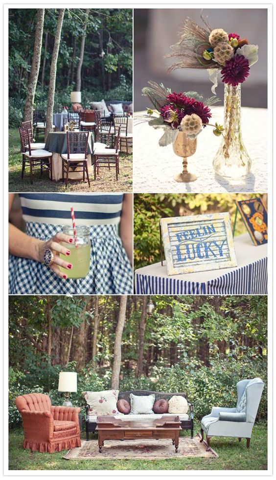 I'd never choose that furniture for my home, but outdoors it is charming.: Wedding Inspiration, Vintage Wedding, Wedding Ideas, Outdoor Couch, Circus Wedding, Party Ideas, Outdoor Weddings