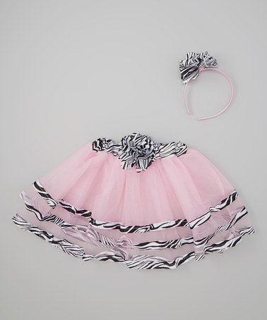 Look at this #zulilyfind! Pink Zebra-Trim Princess Tutu & Headband by Princess Expressions #zulilyfinds