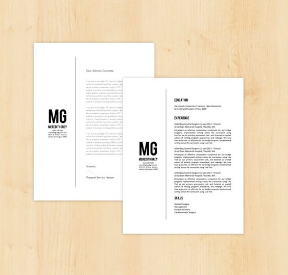 Resume Template \ Letter Template w\/Reference Page - Meredith Grey - resume template download microsoft word