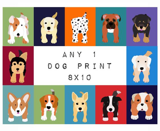 Nursery Art dog print for baby, artwork child 8x10. Any Dog picture in blue for kids room decor from painting. $18.00, via Etsy.