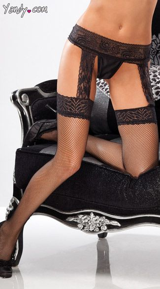 Stocking Suggestion: Fishnet Thigh Highs with Lace Garter Belt - $9.95