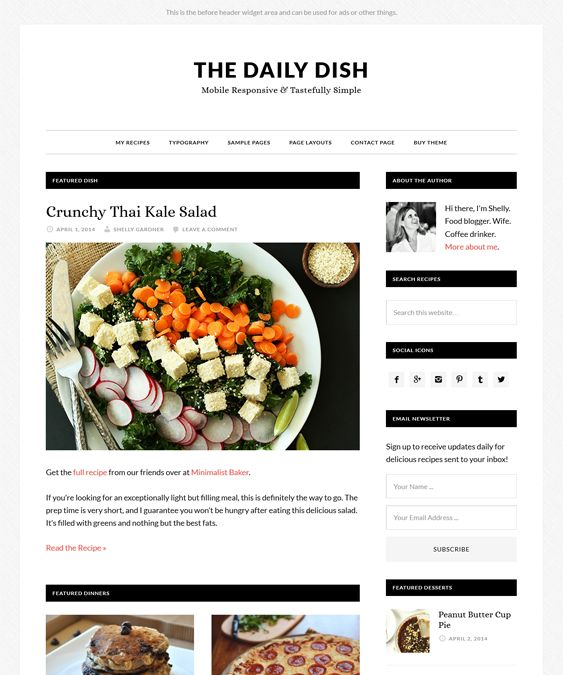 This wordpress theme for food and recipe websites comes with a clean this wordpress theme for food and recipe websites comes with a clean design a landing page a responsive layout a custom header 6 page layouts forumfinder Gallery