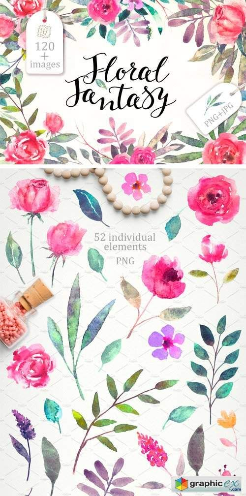Watercolor Floral Fantasy Stock Images Floral Watercolor Free