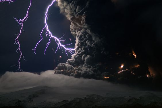 April 2010 Ash and Lightning Above an Icelandic Volcano Credit & Copyright: Marco Fulle (Stromboli Online) The Eyjafjallajökull volcano in southern Iceland began erupting on March 20, with a second eruption starting under the center of a small glacier on April 14. Neither eruption was unusually powerful. The second eruption, however, melted a large amount of glacial ice which then cooled and fragmented lava into gritty glass particles that were carried up with the rising volcanic plume.