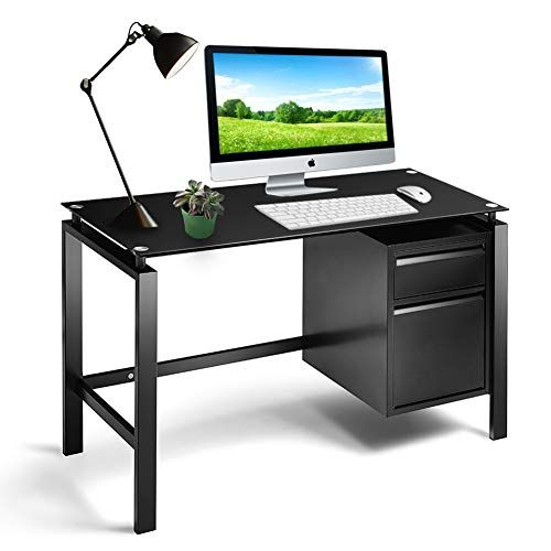 Intergreat Black Computer Office Desk Writing Desk With Premium Tempered Glass Top 2 Drawers Workstation Metal Metal Office Desk Office Desk Glass Desk Office