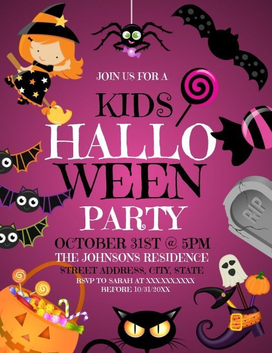 Halloween Party Flyer 2020 Kids party flyer #party #flyer & & & & party flyer design, party