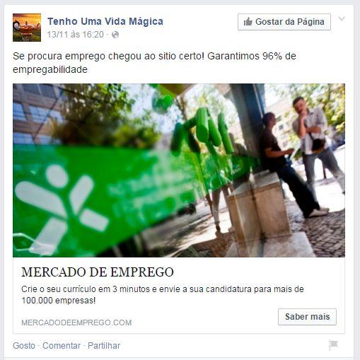 Anúncio online publicado pela Content Ignition no Facebook. Fonte: http://goo.gl/RTLBMy.