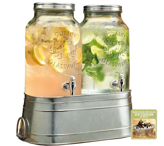 AmazonSmile: High Quality Twin Ice Cold Beverage Drink Dispensers with Galvanized Stand / Bucked and Metal Lid ~ 1.5 Gallon Each Jug: Kitchen & Dining