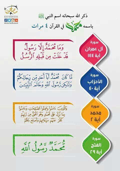 كم مرة ذكر اسم محمد في القرآن وفي أي سورة