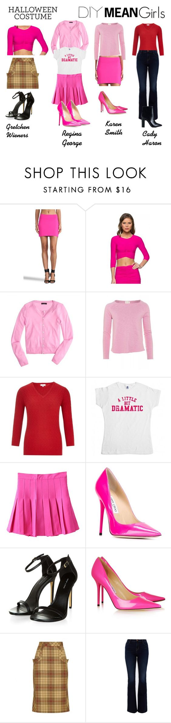 """""""Mean Girls DIY Costume"""" by lavalledanika ❤ liked on Polyvore featuring Susana Monaco, J.Crew, American Vintage, CC, Jimmy Choo, Freddy, J Brand, Nly Shoes and diycostume"""
