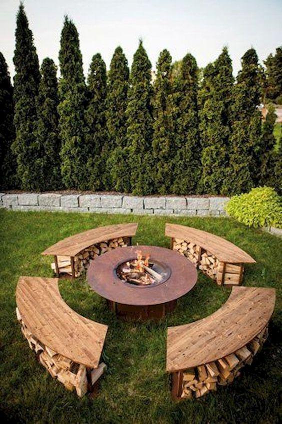 Firewood storage under four benches that surround the pit #fireWoodStorage #firewoodrack #firewood #firewoodideas #organization #outdoorFurniture #backyardFurniture #patioFurniture