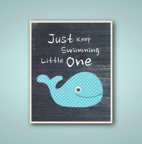 Whale bathroom nursery art - Kids art Boys room decor - quote Just keep swimming children's art - navy blue ocean sea nautical 8x10 or 11x14 on Etsy, $14.00
