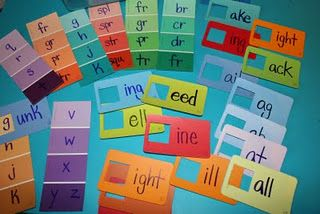 Paint Chip Word Families (from http://pinkandgreenmama.blogspot.com/2009/11/preschool-first-grade-at-home-paint.html)