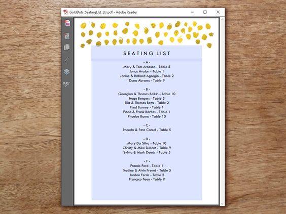 Pontos de ouro, Esquemas de lugares para convidados and - list template pdf