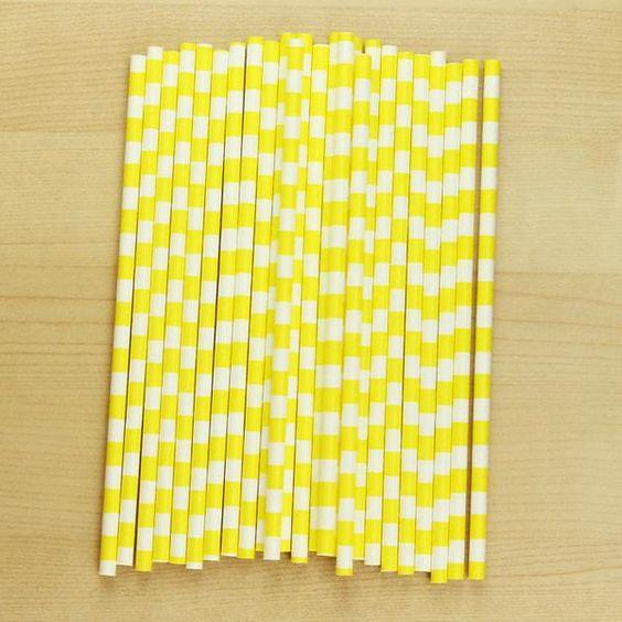 Yellow Horizontal Paper Straw | 25ct
