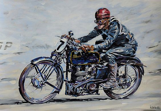 motorcycle paintings art velocette ktt classic vintage