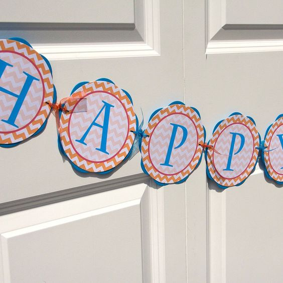 HAPPY BIRTHDAY Banner - Chevron Birthday Party Decorations - Aqua Blue, Red & Orange Chevron Birthday Banner - Chevron Birthday Sign BB6