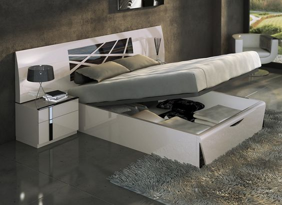 Espectacular dormitorio de matrimonio en lacado arena y - Dormitorios con canape ...