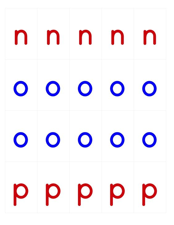 Moving alphabet template: n-p