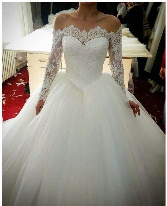 Details About Modest Wedding Dress Long Sleeves Bridal Dress Ball