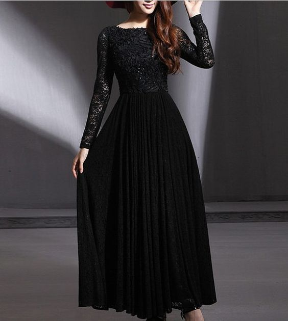 Long Sleeve lace Maxi Dress Black/White SS244 by Yacun on Etsy ...